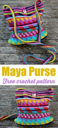 Free bag crochet pattern. Tapestry crochet. Love the designs in this crochet bag pattern.