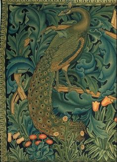 The Forest Tapestry (peacock detail) by William Morris, 1887. Woven silk & wood on a cotton warp, 122 x 460 cm