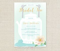 Bridal Tea Shower Invite - Mint Green