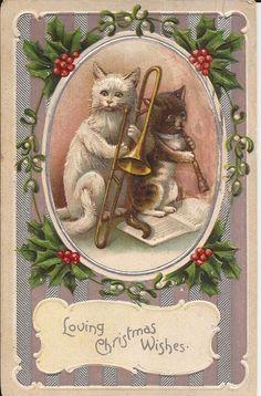 CHRISTMAS CATS PLAYING MUSIC-VINTAGE POSTCARD - #Christmas