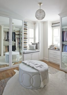 """Move over, master baths. Lavish closets are the new """"it"""" retreats. Amy Ferrer, owner of the Roswell store Miko + Boone Home, created this space for some Brookhaven clients who wanted """"a place to begin the day feeling relaxed but with a little glam. Dressing Room Closet, Dressing Room Design, Dressing Rooms, Big Closets, Ikea Closet, Interiors Magazine, Ikea Cabinets, Brick Patterns, Master Closet"""
