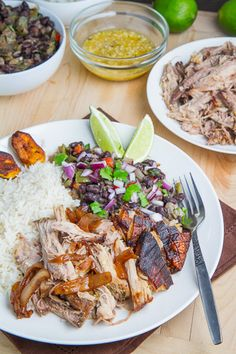 Cuban Roast Pork (Lechon Asado) with Crackling, Rice, Cuban Style Black Beans and Fried Plantains