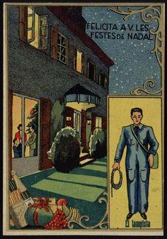 El Lampista felicita a V. les Festes de Nadal. Segle XX. Fons Palau Antiguitats. #Nadal #Christmas #greeting #card