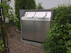 Containerschrank SILENT 1100 mit zwei Einwurföffnungen bis 40 l, Korpus Perlgrau, Türen und Deckel Edelstahl.