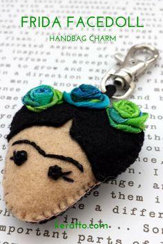 Frida Facedoll in blue, handmade in felt. #frida #kahlo #mexican #art #doll #keychain #charm #handbag #keratto #handmade