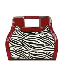 This beautiful zebra striped handbag is the perfect accessory companion for the animal print lovers. This bag has accents of gold-tone hardware red leather-like thick carry straps. The interior nylon includes two small pockets to keep your belongings in place and rear zip pocket. Removable straps included.