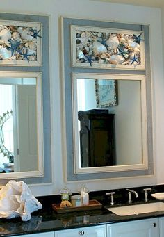 Take a look at the best florida condo bathroom in the photos below and get ideas for your own luxury vacations! Beautiful coastal beach house or condo bathroom with shell accent mirror. Beach Cottage Style, Coastal Cottage, Coastal Homes, Beach House Decor, Coastal Living, Coastal Decor, Beach Houses, Coastal Entryway, Seaside Decor