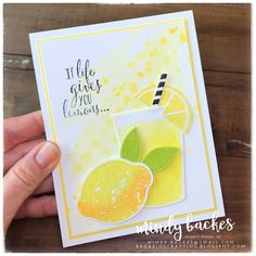 Pineapple Punch daubered with Mango Melody, Lemon Lime Twist Scrapbooking, Scrapbook Cards, Lemon Images, Lemon Blossoms, Cute Cards, Quick Cards, Coffee Cards, Beautiful Handmade Cards, Shaker Cards