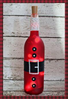 Santa-Christmas-Lighted Wine Bottle-Gift-Home Decor | Etsy Painted Wine Bottles, Lighted Wine Bottles, Decorating Wine Bottles, Vintage Bottles, Vintage Perfume, Vintage Wine, Wine Bottle With Lights, Wine Bottle Lighting, Painting On Wine Bottles