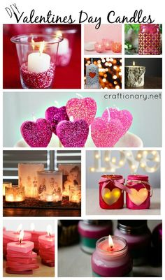 DIY valentines day candles. Make these pretty candles or revamp the ones you already have with these clever ideas