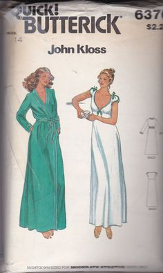 Vintage Butterick 6370 Size 14 for John Kloss Misses lowcut nightgown pattern and robe by TreasuresFromGranny on Etsy