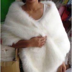 Faux Fur Wedding Jacket Wrap Shawls Off-the-shoulder