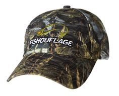 Walleye Pattern Full Camo Cap. Constructed from rugged poly twill fabric with anti-microbial treatment for freshness and wicking moisture management keeps the cap cool. Fishouflage logo on the front of the cap.