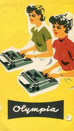 Vintage Poster - Olympia Typewriter - Typing - Typist - Administration - Secretary- advertising