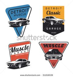 Set of classic muscle car emblems, badges and icons. Service car repair, restoration  and car club design elements - stock vector