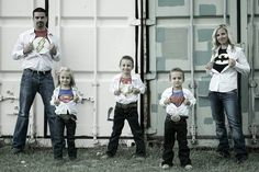 Super hero family pictures Great idea for christmas cards--have a super christmas!