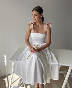 White Semi Formal Dress, White Midi Dress, Simple Dresses, Cute Dresses, Vintage Dresses, Chic Dress, Classy Dress, African Traditional Dresses, Tea Length Dresses