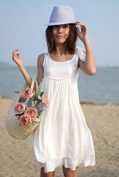 White Beach Dress With Sleeves
