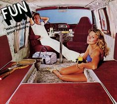 1970s camper van advertisement. Check out the shag carpeting...