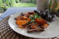 Fisch & Chips mit der Familie in London? Nein Kürbis-Pommes mit Muscheln  und arbeiten :-)  Rezept bald im Blog