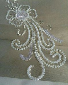 Grand Sewing Embroidery Designs At Home Ideas. Beauteous Finished Sewing Embroidery Designs At Home Ideas. Pearl Embroidery, Tambour Embroidery, Bead Embroidery Patterns, Hand Embroidery Designs, Sewing Patterns, Bordados Tambour, Tambour Beading, Motifs Perler, Beadwork Designs
