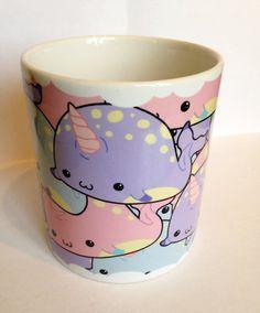 Narwhal mania mug kawaii mug in pastel goth by Drixproductions