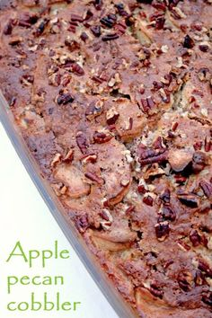 This delicious baked apple pecan cobbler is super easy to make and packed with the seasonal flavours of Fall - apples, spices and nuts. Just Desserts, Delicious Desserts, Dessert Recipes, Yummy Food, Pecan Recipes, Apple Recipes, Fall Recipes, Pecan Cobbler, Cobbler Recipe