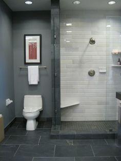 Bathroom design: like the color scheme and tile work . black slate floor white stone subway tile in shower blue gray walls shower surround frameless glass shower. Slate Flooring, Bathroom Flooring, Slate Tiles, Grey Tiles, Grey Grout, Herringbone Tile, Black Grout, Brick Tiles, Bad Inspiration
