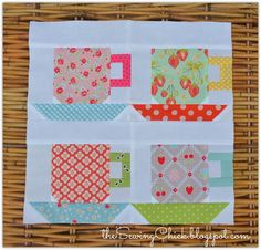 "Free pattern @ The Sewing Chick - 6"" Finished Teacup Block Tutorial"