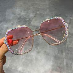 NEW Oversized Square Frame Bling Rhinestone Sunglasses Women Fashion Shades 2019 Luxury Sunglasses, Sunglasses Shop, Sunglasses Women, Stylish Sunglasses, Oversized Sunglasses, Sunglasses For Your Face Shape, Cute Glasses, Fashion Eye Glasses, Accesorios Casual