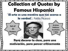 Collection of Quotes by Famous Hispanics Bulletin Board Set from Spanish Classroom on TeachersNotebook.com (26 pages)