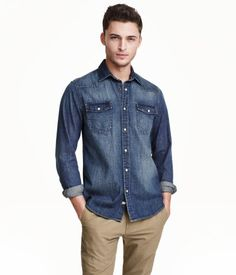 Shirt in soft, washed cotton denim with a narrow turn-down collar. Pointed yoke, chest pockets with flap and snap fastener, and snap fasteners at front and at cuffs. Slim fit. | H&M For Men