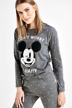 Pyjama large à imprimé à pois composé dun tee-shirt à manches longues, Mickey Mouse et texte « Don't worry », et dun pantalon à taille ajustable à cordon.  | Pyjamas longs | women'secret