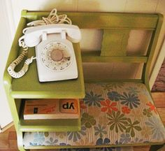Vintage White Rotart Telephone by fatcatvintage on Etsy, $40.00