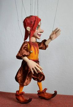 Contented Jester wooden marionette. Handmade puppet 19