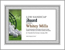 Free printable golf certificates golf awards golf for Free hole in one certificate template