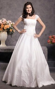 The ball gown wedding dress style is one of the most popular wedding dress styles. Here is the Square Floor-length Short Sleeve Princess Wedding Dresses With Appliques Beading right for you. You may also remind of the dream since childhood. There must be a prince waiting for you just in order to dance with you. And ball gown is the unique choice for you to make your fairy wedding ceremony completed. It's also a good choice to wear ball gown wedding dresses in a large, formal  - $164.99