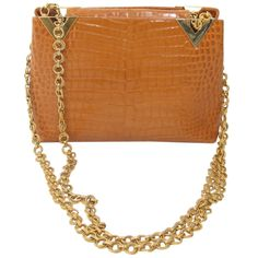 Valentino Couture butterscotch alligator gold chain handabag | From a collection of rare vintage handbags and purses at http://www.1stdibs.com/fashion/accessories/handbags-purses/