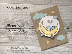 Ind Stampin' Up! Moon Baby stamp set by Stampin' Up! paired with the Stitched Shapes Framelits Dies by Stampin' Up! Baby Shower Cards, Baby Cards, Baby Wallpaper, Scrapbook Cards, Scrapbooking, Up Girl, Kids Cards, Homemade Cards, Stampin Up Cards