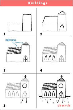 How yo draw a church- simple drawing for kids Art Drawings For Kids, Doodle Drawings, Drawing For Kids, Cartoon Drawings, Doodle Art, Easy Drawings, Art For Kids, Drawing Lessons, Drawing Techniques