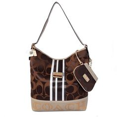 Look hot all season with Coach In Signature Medium Coffee Shoulder Bags AYK. Check out these top season trends with it to match. Handbags On Sale, Coach Handbags, Coach Purses, Cheap Handbags, Coach Hobo Bag, Coach Bags, Tote Bag, Fashion Bags, Fashion Accessories