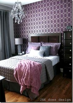 Purple & grey guest bedroom with #wallpaper . #wallpaper never looked so good! it's a #mustsee