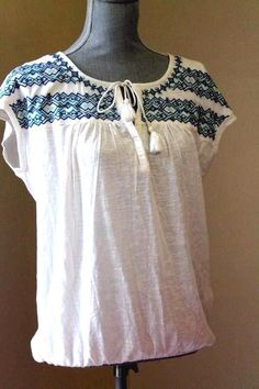 NWT LUCKY BRAND WOM L EMBROIDERD TOP BOHO PEASANT SHIRT BLOUSE WHITE OF SHORT SL #LuckyBrand #Blouse #Casual