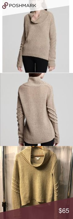 Helmut Lang Alternating Tucks Funnel Neck Sweater Long sleeve knit sweater with ribbing detail on the arms and a wide funnel neckline. Silk, wool, and cotton construction. Tan color best pictured in the first two photos originally from the Helmut Lang website.   Very good condition. Helmut Lang Sweaters