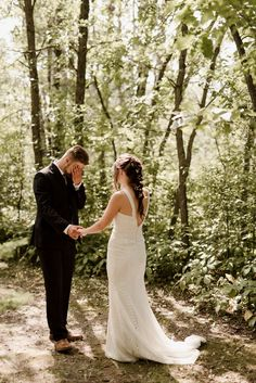 winnipeg boho backyard wedding bride and groom first look in the forest emotiona… Space Wedding, Wedding Vows, Boho Wedding, Wedding Photos, Wedding Dresses, Rustic Wedding, Bohemian Weddings, Bridal Pictures, Bohemian Bride