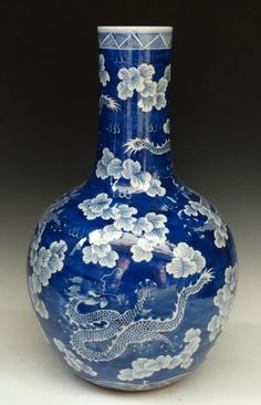 A Chinese Blue and White Porcelain Vase, Qing Dynasty, Size: H 57cm