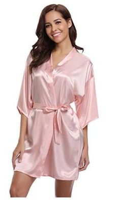 7659ea399f Women Silk Satin Short Night Robe Solid Kimono Robe Fashion Bath Robe Sexy  Bathrobe Peignoir Femme Wedding Bride Bridesmaid Robe