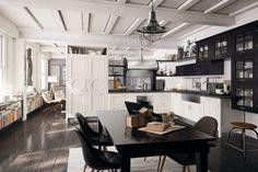 cuisine moderne table à manger et chaises noires