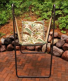 Another great find on #zulily! Blue & Black Leaves Swing Chair & Stand #zulilyfinds
