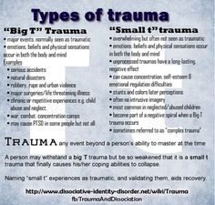 "Dissociation and Trauma. ""Big T and Small t"" types of trauma Mental Health Facts, Mental Health Counseling, Mental Health Awareness, Mental Illness Facts, Types Of Mental Illness, Mental Health Illnesses, School Counseling, Stress Management, Trauma Quotes"